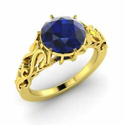 1.00 Carat Natural Blue Sapphire Vintage Inspire Engagement Ring 14k Yellow Gold