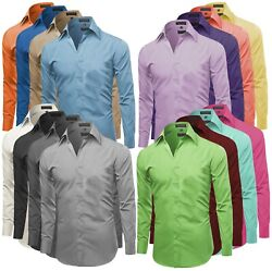 Omega Italy Men#x27;s Premium Slim Fit Button Up Long Sleeve Solid Color Dress Shirt $21.99