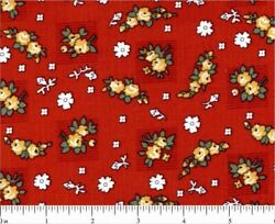 Wilmington Chicken Scratch Kaye England Red 100% Cotton Quilting Cotton Fabric
