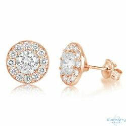 Halo Stud Diamond Earrings - Round 2.35 Carat Color D Clarity I1 14k Rose Gold