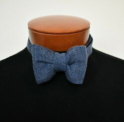 NWT Authentic TOM FORD Blue Herringbone Pattern 100% CASHMERE Pre-Tied Bow Tie