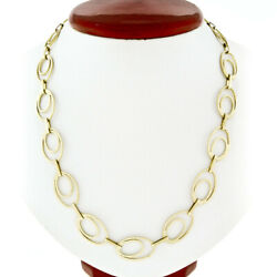 Statement 14k Yellow Gold Long 28 Textured Open Dual Oval Link Chain Necklace