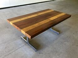 Milo Baughman For Directional Striped Wood And Chrome Mid Century Dining Table