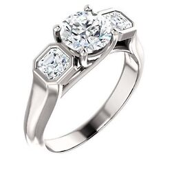 1.29 Carat Total Round And Aascher Cut Diamond Engagement 14k White Gold Ring Si1