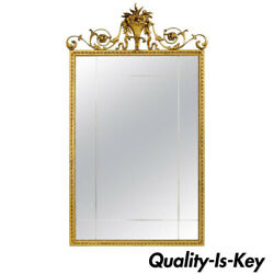 Antique Gold Giltwood And Gesso English Robert Adam Style Rectangular Wall Mirror