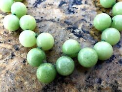 Antique Chinese Natural Jade Jadeite Apple Green 15mm D Beads Necklace 11l Gold