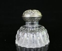 Rare Antique S. Kirk And Son Hawkes Abp Cut Glass Inkwell W/ Sterling Lid