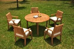 A-grade Teak 6pc Dining 52 Round Table 5 Lagos Arm Chair Set Outdoor Patio