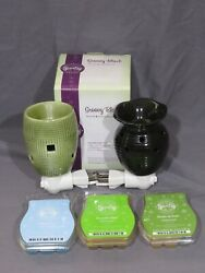 Scentsy Lot Wall Plug In Warmer Groovy Black And Green Cucumber Lime Eskimo Kiss +