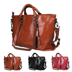 Women Soft Oiled Leather Handbag Messenger Shoulder Tote Bag Crossbody Satchel
