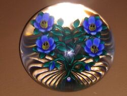 Rare Bob Banford Blue And Yellow Flower Signed Paperweight