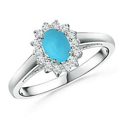 0.58ctw Princess Diana Inspired Turquoise Ring With Diamond Halo In Silver/gold