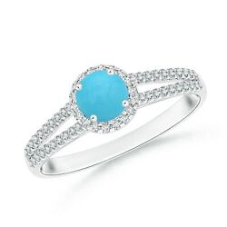 0.63ctw Twin Shank Turquoise Halo Ring With Diamond Accents In 14k Gold