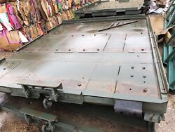 Military Trailer Steel Deck Platform Pintle Hitch Ring Front 9ft X 8ft 4 Casters