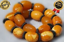 Antique Natural Baltic Amber Marble Yellow White Colour Collectible Bracelet 8 G
