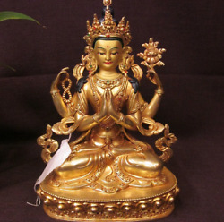 8and039and039 Tibet 4 Arms Guanyin Chenrizig Buddha Bronze Statue