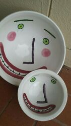 Desimone Picasso Style Hand Painted Set Of Happy Smiling Face Pottery Bowls