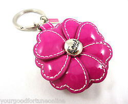NWT COACH PHOTOPICTURE PINK PATENT LEATHER FLOWER 3D KEY CHAIN RING FOB 93078