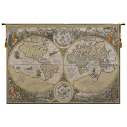 Orbis Terrae Old Style World Map And Scenes European Woven Tapestry Wall Hanging