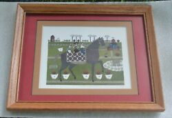 Catherine Grunewald Folk Art quot;Chicken For Lunchquot; SIGNED amp; NUMBERED HORSE PICNIC
