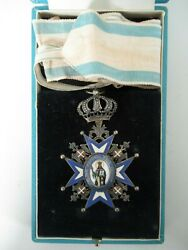 Serbia Order Of St. Sava Commander Grade Neck Badge With Ribbon. Type 3. Cased
