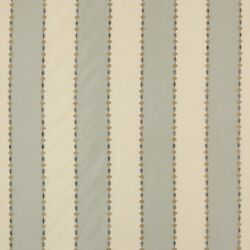 Colefax And Fowler Miramont Stripes Embroidered Silk Fabric 10 Yards Blue Cream
