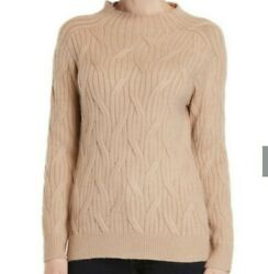 Romeo & Juliet Couture Womens Mock Neck Cable Knit Sweater Small CamelTan NWT