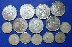 Lot Of 14 X 1968 Elizabeth Ii Canada 25 And 10 Cent Silver Coins