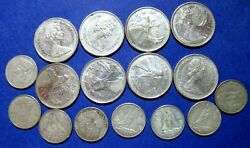 Lot Of 16 X 1968 Elizabeth Ii Canada 25 And 10 Cent Silver Coins