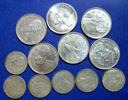 Lot Of 12 X 1968 Elizabeth Ii Canada 25 And 10 Cent Silver Coins