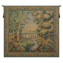 Bridge Over River Country Village Scene European Woven Tapestry Wall Hanging