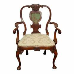 Antique French Country Carved Wood White Accent Chair Queen Anne W Asian Motif