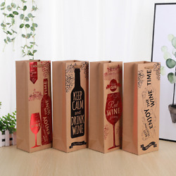 200x Paper Wine Single Bottle Bag Birthday Wedding Party Drinks Shopping Bags