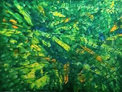 Avocado Forest - Outsider Modern Art Abstract Painting Canvas Signed Shar