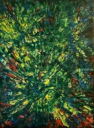 Green Forest - Huge Modern Art Abstract Painting On Canvas Signed Shar