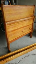Pine Twin Sleigh Bed - High Back - Excellent - Thick Solid Wood