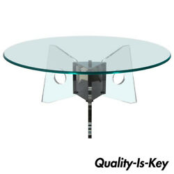 Mid Century Modern Lucite Chrome And Round Glass Tripod Base Coffee Cocktail Table