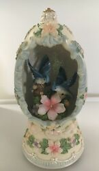 Musical Blue Jay Egg Plays Memories With Flower Detail Item No. 24387