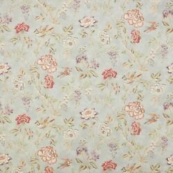 Colefax And Fowler Tree Of Life Birds Floral Linen Fabric 10 Yards Old Blue Multi