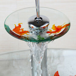 Bathroom Faucets Goldfish Chrome Brass Round Tempered Glass Waterfall Mixer Taps