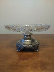 Antique - H. Meyen And Co Silver 800 - Crystal Pedestal Bowl - Berlin Germany