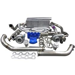 Gt35 Twin Turbo Intercooler Kit For 79-93 Ford Foxbody Mustang 5.0l Dual 900 Hp