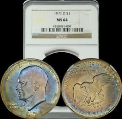 1971 D Eisenhower Dollar Ngc Ms64 Blue And Yellow Toned Coin Ike