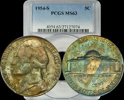 1954-s Jefferson Nickel Pcgs Ms63 Favored Color Toning In High Demand