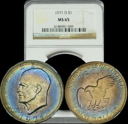 1971 D Eisenhower Dollar Ngc Ms65 Blue Purple And Yellow Target Toned Colors