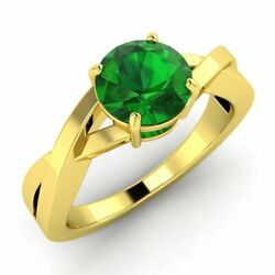 3/4 Ctw Round Aaa Emerald Solitaire Engagement Ring In Solid 14k Yellow Gold