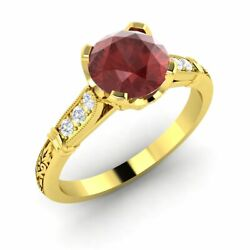 Certified 1.10 Ct Garnet And Diamond Antique Art Deco Ring In 14k Yellow Gold