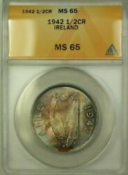 1942 Ireland 12 Cor�in Crown Coin ANACS MS-65 Toned