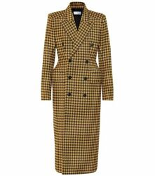 Balenciaga Hourglass Double Breasted Houndstooth Coat Black Yellow Fr 34 / Us 2