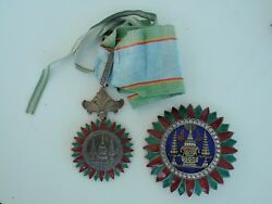 Thailand Order Of The Crown Grand Officer Set. Type 1. Silver/gilt Rare